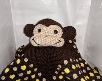 """Curious Monkey Baby & Toddler Lovey Blanket - Large Size (26""""x26"""")"""