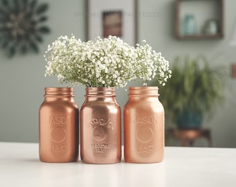 Copper Vases, Copper Wedding, Copper Home Decor, Copper Centerpieces, Steampunk Decor, Mason Jar Vases