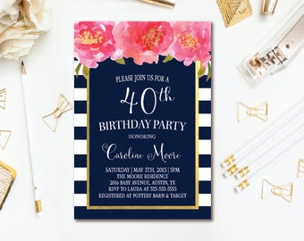Navy & White Stripe Birthday Invitation - Navy, Pink and Gold Birthday Party - Pink Watercolor Floral Birthday Printable - ANY AGE