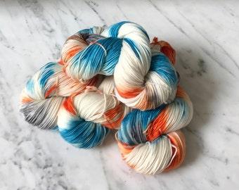 """Superwash Merino and Cashmere Sock Yarn """"Autumn Sky"""""""