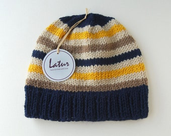 Gift for Him, Christmas gift, Yellow Navy Stripe Beanie Hat