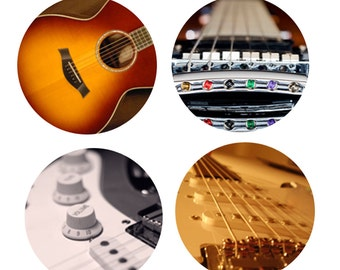Closeup Guitars Musical Instruments Magnets or Pinback Buttons or Flatback Medallions Set of 4