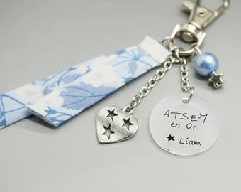 """porte clé liberty bleu cabochon """"ATSEM en Or"""" prénom coeur - cadeau scolaire personnalisable"""