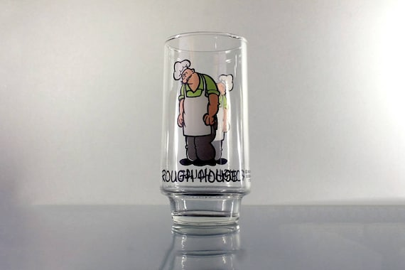 Rough House Tumbler, Coca-Cola, Popeye Kollect-A-Set Series, 16 Ounce, Pryo-Glazed, 1975 Promotional Glass