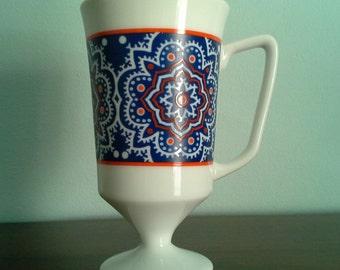 Mod Cappuccino Mug in Cobalt Blue and Orange