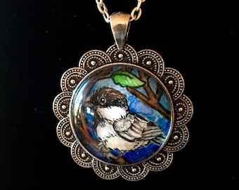 Chickadee-dee-dee Original Watercolor Pendant