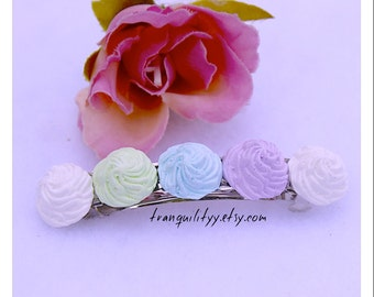 Whip Cream Hair Clip, Clay Realistic Frosting  , Pastel Whip Cream Dollop , Kawaii, Scene, Birthday,  By: Tranquilityy