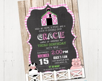 Farm Birthday Invitation, Girl Farm Invitation, Pink farm invite, Barnyard Invitation, Farm Animal Birthday Invitation, Printable Invitation
