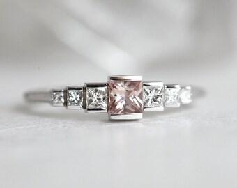 Peach Sapphire Ring, Sapphire Ring, Art Deco Ring, Art Deco Engagement Ring, White Gold Ring, Princess Cut Diamond Ring, Minimalvs