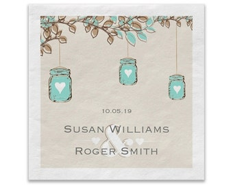 Rustic Fall Wedding Mason Jars Personalized Cocktail Napkins | Custom White Paper Beverage Napkins | Quantity Discounts