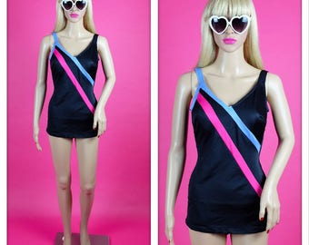 Vintage One Piece Bomshell Pin Up Black Swimsuit with Pink and Blue Stripes