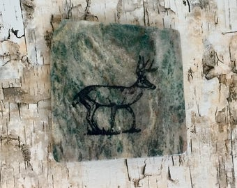 Natural Stone Coaster - Deer