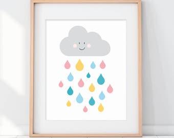 Nursery Clouds, Cloud Nursery, Kids Wall Art, Nursery Wall Art, Happy Cloud, Nursery Decor, Cute Art, Colorful Nursery Art, New Baby Gift