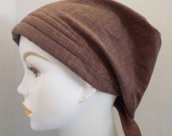 Classic Soft Warm & Cozy Flannel Cancer Chemo Cotton Hat Scarf Cap Head Wrap Alopecia Turban Bad Hair Day