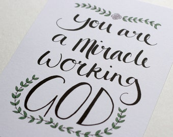 Miracle Quote A5 Watercolour Hand-lettered Print