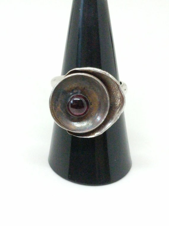 Patina and Garnet Sterling Silver Ring