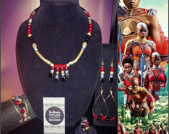 """Inspired by Black Panther's """"Dora Milaje"""" - Necklace Ring Earrings"""