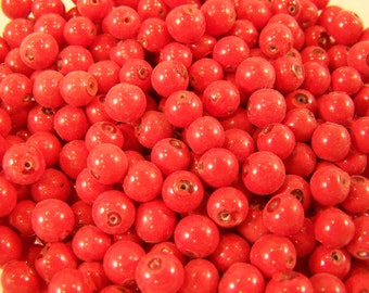 FREE SHIPPING - 120 pcs Small Size Red Round Glass Beads (#1911)