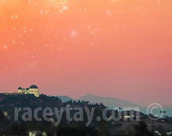 Photograph of Griffith Observatory, Los Angeles Print, Orange, Hollywood, Starry Sky, California Print, Celestial
