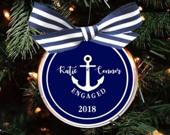 Engagement Ornament, Wedding Ornament, Wedding Shower Gift, Nautical Wedding, Coastal Wedding, Engagement Gift, Coastal, Anchor, Navy