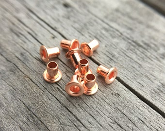 Copper Eyelet Copper Plated Brass Eyelets Rivets 3/32x3.5mm or 3/32x4.5mm