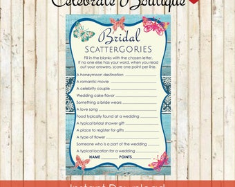 Butterfly Bridal Shower Bridal Scattergories Game Instant Download Butterflies Theme Butterfly Party Printable Butterfly Game 0008