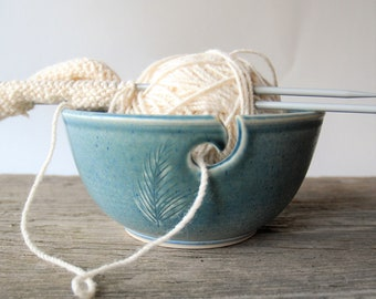 ceramic yarn bowl, gray feather crochet bowl,  pottery wool bowl, wheelthrown yarn bowl, knitter's bowl, unique yarn bowl