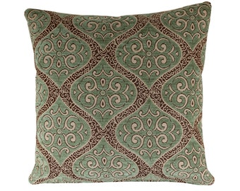Blue and Grey Cushion, Persian Style Pillow Cover, Blue Chenille Cushion Cover - Free Shipping UK