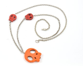 howlite skull necklace , Mexican necklace , day of the dead , orange and red
