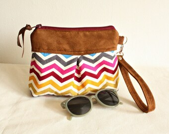 Chevron pleated wristlet, pouch, clutch, wallet, canvas and faux suede multicolor- READY-