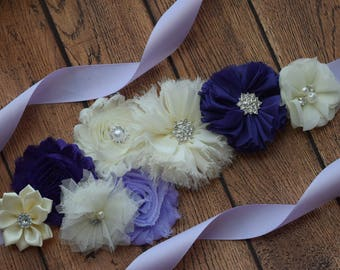 Sash, purple Violet and ivory Sash , flower Belt, maternity sash