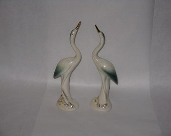 Vintage pair ceramic bird figurines Norcrest Japan heron egret