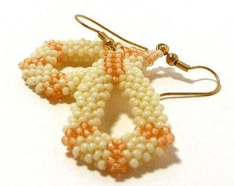 Beaded Teardrop Earrings - Peach/Ivory \