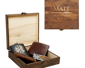 Groomsmen Gift Box, Personalized Cigar Box, Wooden Cigar Box, Groomsmen Gift Set, Wood Gift Box
