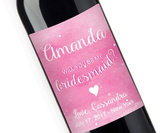 Will you be my Bridesmaid Watercolor Personalized Wine Label - Bridesmaids Gift (JM2931-1)