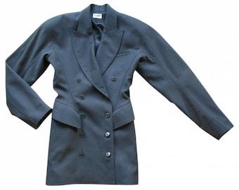 Azzedine Alaïa : long grey wool jacket, size S/M, vintage 80s, luxury female jacket Made in France Alaïa vintage blazer female jacket