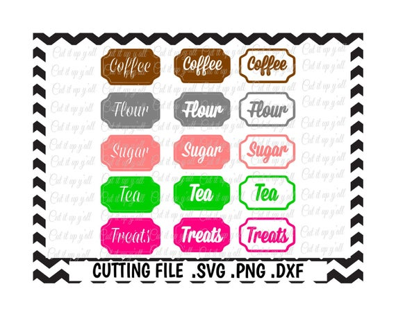 kitchen canister labels flour tea sugar coffee treats svg dxf png fcmstudio3 cut files for silhouette cameo cricut svg download from cutitupyall