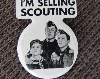 Vintage Boy Scout Pinback Button I'm Selling Scouting BSA Free Shipping