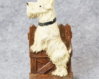 Vtg Syroco Scottie Dog Scottish Terrier Clothing/Shoe Brush Holder Wood