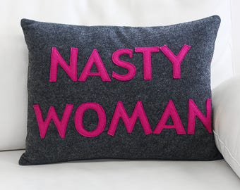 "NEW! Throw Pillow, Decorative Pillow, ""Nasty Woman"" 14X18 inch Throw pillow, NEW!"