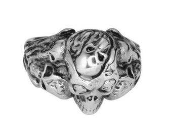 Multi Skull Ring Stainless Steel Motorcycle Jewelry