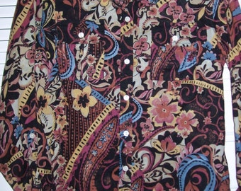Vintage Lucky Brand Exciting Cotton Breezy Shirt Multi-Faceted Design Size Large