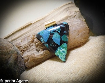 Chrysocolla in Resin Black & Turquoise Gemstone Necklace Pendant