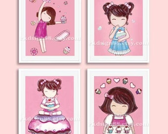 Children's wall art, cupcake nursery art prints, baby girl nursery decor, nursery print, girls room decor, kids wall art, SET, 4 prints