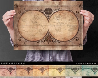 Olde World Map Printable Paper, World Map Paper for your DIY Paper Craft. Paper Craft for Mixed Media & Junk Journal Kits.
