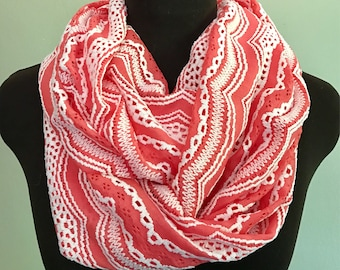 Coral and White Scallop Print Infinity Scarf