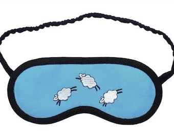 Jumping Sheep Sleep Mask, Lamb eye mask, Animal sleep mask, Sky or Grass sleeping eye mask, Gift for her, Pajama party favor, Unisex eyemask