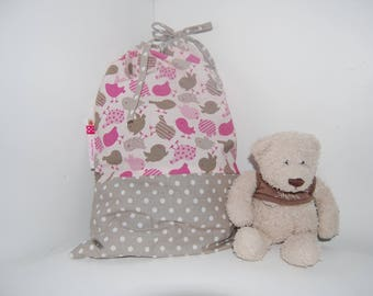 Pouch PERSONALISABLE baby, pink, green and taupe, little birds, birth gift