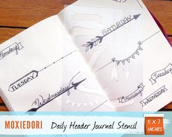 Bullet Journal Daily Planner Header Stencil for Travelers Notebook Leuchtturm Moleskine A5 Planner