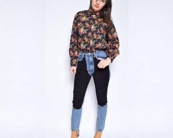 Vintage 80's Floral Black Blouse / Long Sleeve Button Shirt / Black Floral Top - Size Medium